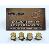 Set of 4 Bullet Buttons Brass+Brass for Playstation PS4 PS3 controllers