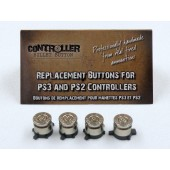 Set of 4 Bullet Buttons Nickel+Nickel for Playstation PS4 PS3 controllers