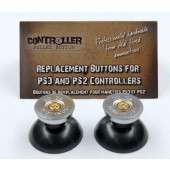 Pair of Thumbstick Bullet Nickel+Brass for PS3 Controller